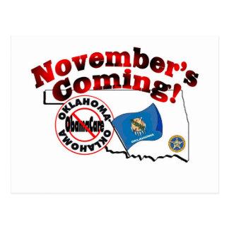 Oklahoma Anti ObamaCare – November's Coming! Postcard