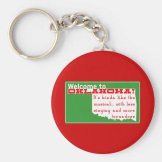 Oklahoma Basic Round Button Key Ring