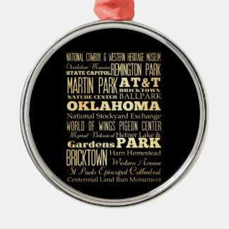 Oklahoma City of Oklahoma State Typography Art Christmas Ornament