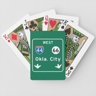 Oklahoma City, OK Road Sign Bicycle Playing Cards