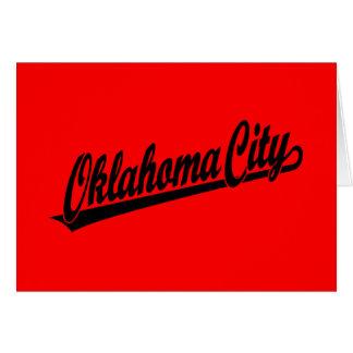 Oklahoma City script logo in black Greeting Card