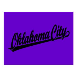 Oklahoma City script logo in black Postcard