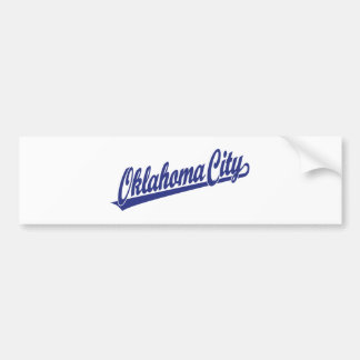 Oklahoma City script logo in blue Bumper Sticker