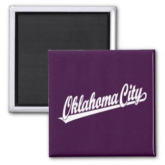 Oklahoma City script logo in white Square Magnet