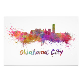 Oklahoma City skyline in watercolor Photo Art