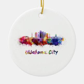 Oklahoma City V2 skyline in watercolor Christmas Ornament