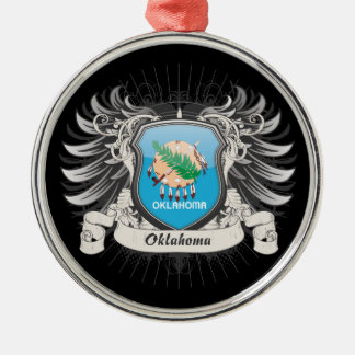 Oklahoma Crest Silver-Colored Round Decoration