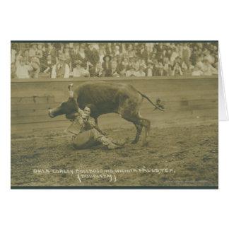 Oklahoma Culy bulldogging. Card