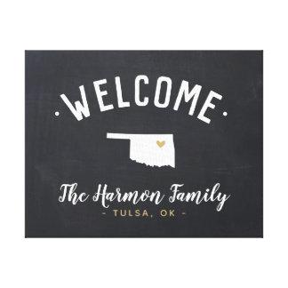 Oklahoma Family Monogram Welcome Sign