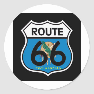 Oklahoma flag Route 66 Shield Classic Round Sticker