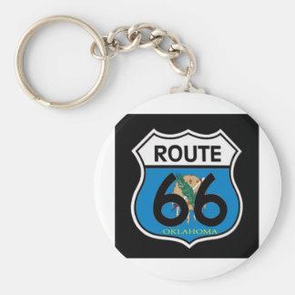 Oklahoma flag Route 66 Shield Key Ring