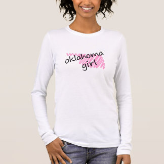 Oklahoma Girl with Scribbled Oklahoma Map Long Sleeve T-Shirt