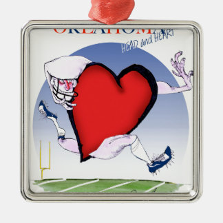 oklahoma head heart, tony fernandes Silver-Colored square decoration