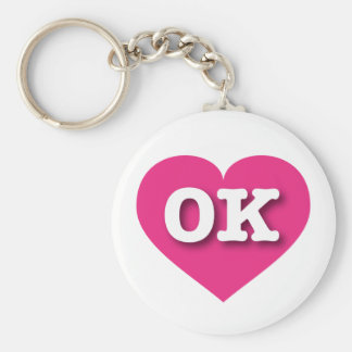 Oklahoma Hot Pink Heart - Big Love Key Ring