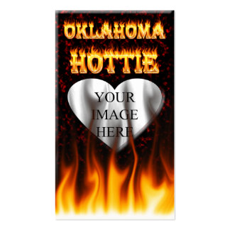 Oklahoma Hottie fire and red marble heart. Pack Of Standard Business Cards