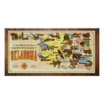 Oklahoma Map: Ecoregions & Native Wildlife Poster