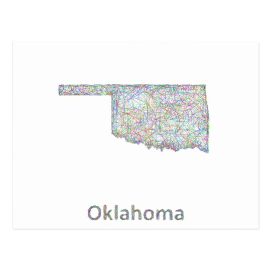 Oklahoma map postcard