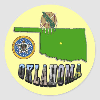 Oklahoma Map, seal and Picture Text