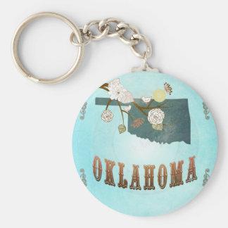 Oklahoma Map With Lovely Birds Key Ring
