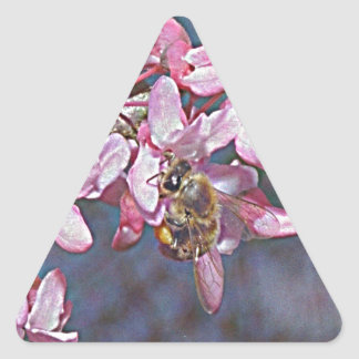 Oklahoma Redbud and Honeybee Triangle Sticker
