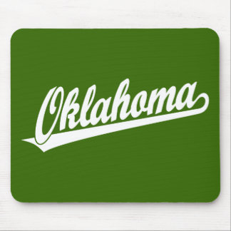 Oklahoma script logo in white mouse pad