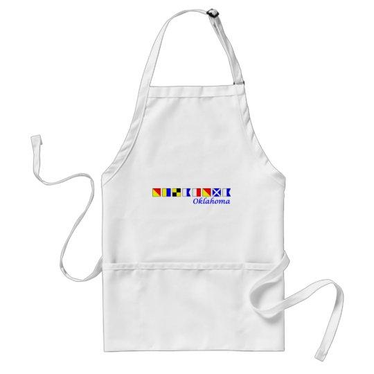 Oklahoma spelled in nautical flag alphabet standard apron