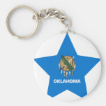 Oklahoma Star Basic Round Button Key Ring