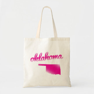Oklahoma state in pink tote bag