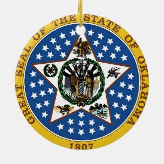 Oklahoma state seal america republic symbol flag round ceramic decoration