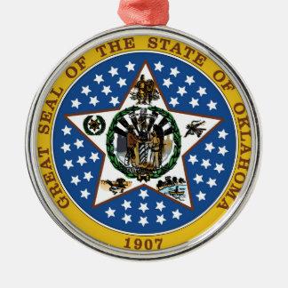 Oklahoma state seal america republic symbol flag Silver-Colored round decoration