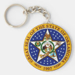 Oklahoma State Seal Basic Round Button Key Ring