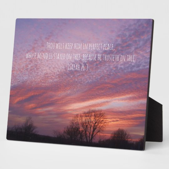 Oklahoma Sunset with Trees and Bible Verse Plaque