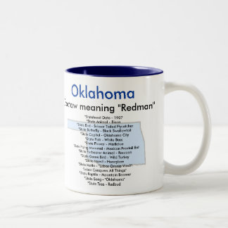 Oklahoma Symbols & Map Two-Tone Coffee Mug