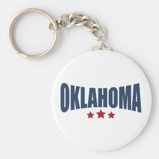 Oklahoma Three Stars Design Basic Round Button Key Ring