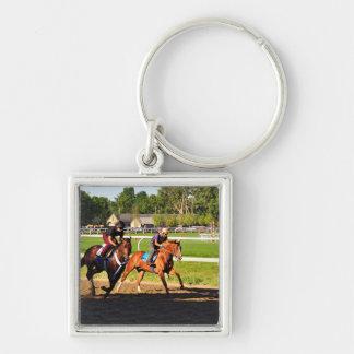 Oklahoma Training Track Silver-Colored Square Key Ring