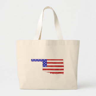 Oklahoma USA flag silhouette state map Large Tote Bag