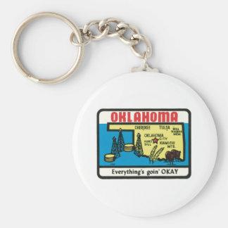 Oklahoma Vintage Label Key Chains