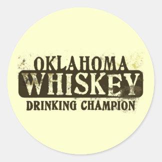 Oklahoma Whiskey Drinking Champion Classic Round Sticker