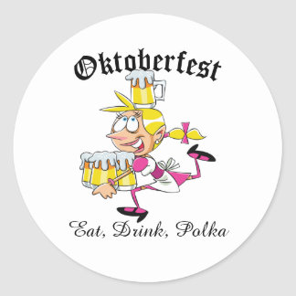 Oktoberfest Barmaid Classic Round Sticker