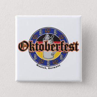 Oktoberfest Beer and Pretzels 15 Cm Square Badge