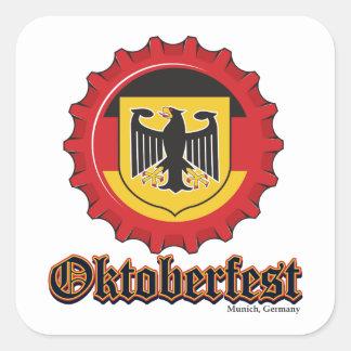 Oktoberfest Beer Bottle Cap Square Sticker