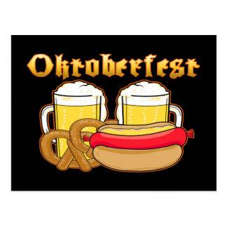 Oktoberfest Beer Bratwurst Pretzel Postcard