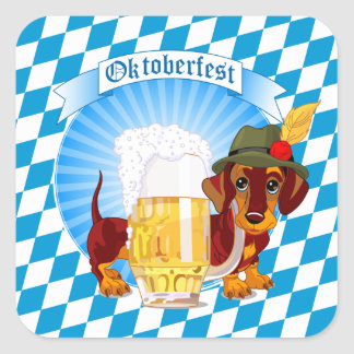 Oktoberfest Beer Hound Square Sticker