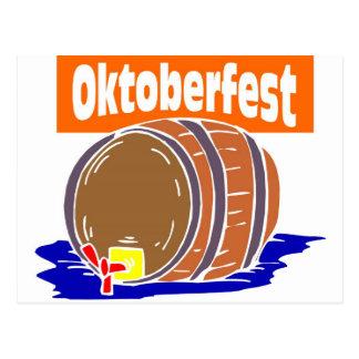 Oktoberfest beer keg postcard