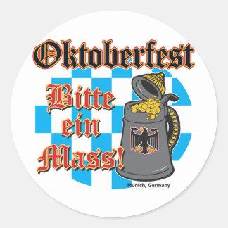 Oktoberfest Bitte ein Mass Round Stickers