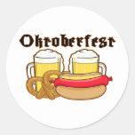Oktoberfest Bratwurst & Beer Round Stickers