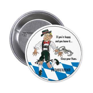 Oktoberfest Cartoon Bavaraian Blue Button Pin