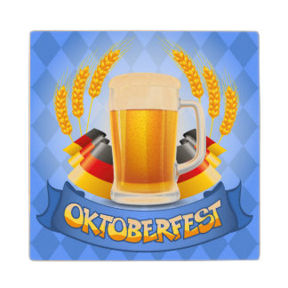Oktoberfest Celebration Background With Wood Coaster