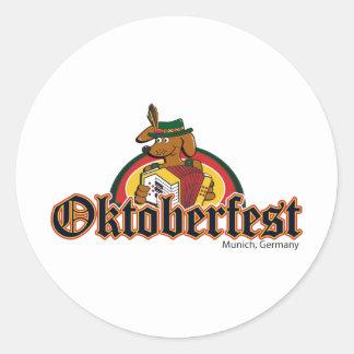 OKTOBERFEST Dachshund Playing Accordian Round Sticker