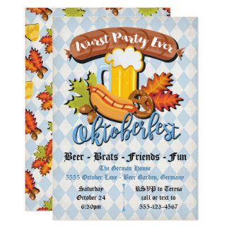 Oktoberfest fall leaves Party Invitations